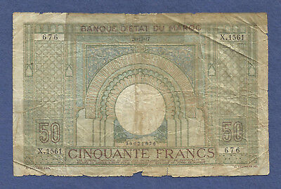 French MOROCCO 50 Francs 1947 Banknote No 39021676 -Historic WWII ERA Currency