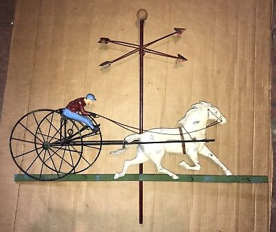 C. Here Horse And Sulky Weathervane Signed Wall Art