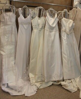 LOT of FIVE bridal gowns, wedding dresses, White and Ivory, Variety designers