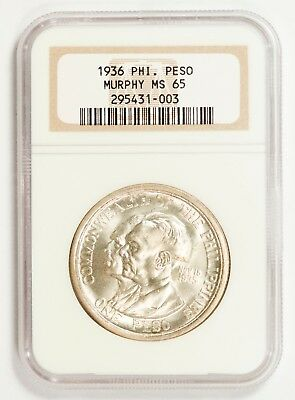 1936 Murphy-Quezon Peso NGC MS65 - US Philippines / United States Philippines