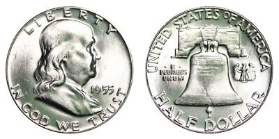 Franklin 1955 P CHOICE BU  Half Dollar - NOT CLEANED or POLISHED - 90% Silver