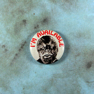 "Vintage Style Funny Art Pinback Button 1"" Wolf Man Werewolf I'm Available Horror"