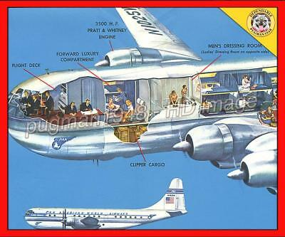 PAN AMERICAN WORLD AIRWAYS 1949 AIRLINE BROCHURE...CUTAWAY Boeing Stratocruiser