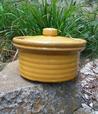RARE Early McCoy Pottery RINGS Covered Yellow Ware Butter Crock ca. 1920s