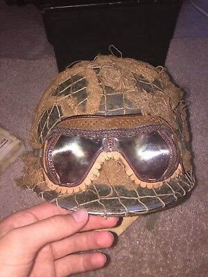 Airborne Paratrooper Ww2 Helmet M-c1 Front Seam with scrim and goggles and box