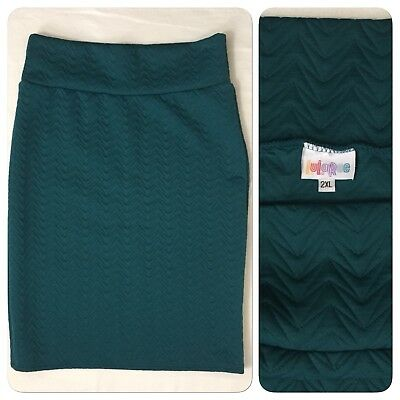 0220718 LuLaRoe 2XL Cassie Skirt Teal Blue Quilt Stretch Pencil Yoga Waistband