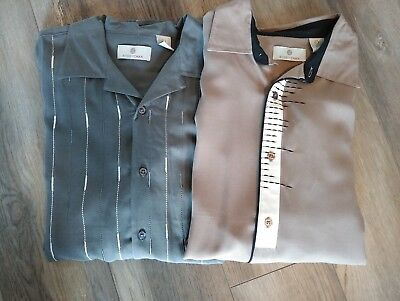 Lot of 2 Bobby Chan Resort Shirt Stylized Stripes Gray Brown Bamboo & Silk Large