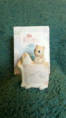 Precious Moments Sugar Town Luggage Cart with Kitten Cat Figurine 1995 150185