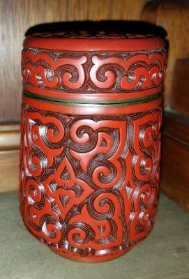 Fine Chinese Cinnabar Box On Blue Enamel * Antique * A1 * Excellent Condition!
