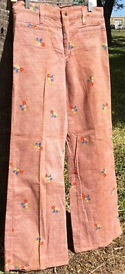 Stuffed Brown Flower Pattern 70s Vintage Flare Jeans with Original Tag