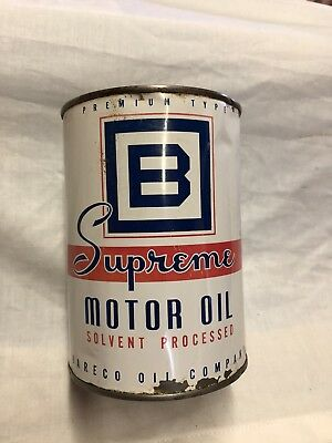 Rare Vintage Original BE SQUARE SUPREME Quart Oil Can Tin Gas Oil Automotive FSH