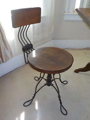 Antique Tonk Style Wrought Iron Piano Organ Adjustable Stool Chair Chicago NY