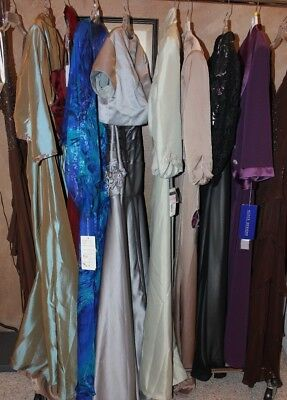 LOT of 10 long formal evening gowns, Mother's or Church gowns, Variety sizes
