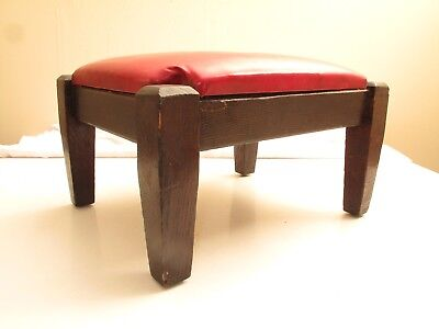Antique Oak Arts & Crafts Footstool Ottoman Red Vinyl Top Mission A/c C 1900