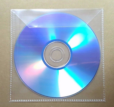 10pcs CD DVD Plastic Sleeve with Flap Transparent Clear Bag Cover Envelope