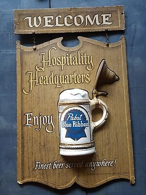 Vintage Pabst Blue Ribbon Beer Hospitality Headquarters Sign RARE