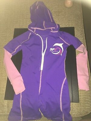 Sun Skinz girls Sun Protection Hooded One Piece Swim Suit toddler size 2