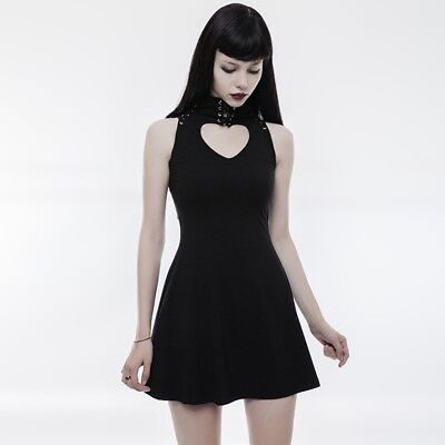 PUNK RAVE Gothic Heart Shape  Hollow Out Laced Black High Collar Women Dress