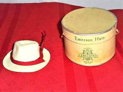 Vintage miniature salesman sample Fedora hat w/Emerson Hats Fifth Ave NY hat box