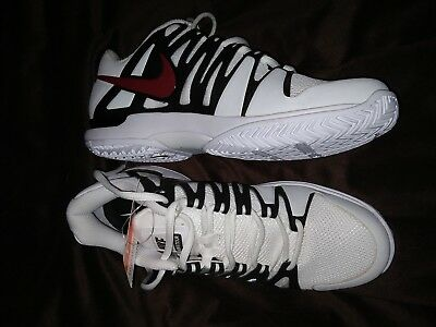 Nike Mens Tennis Shoes Zoom Vapor 9 Tour RF black white red swoosh Federer