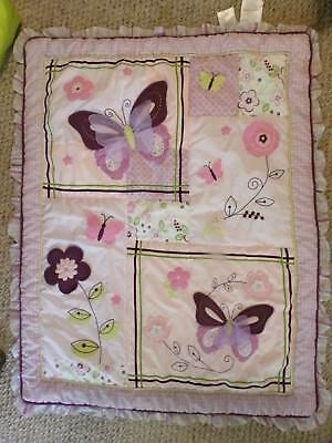 Lambs & Ivy Baby Crib Comforter, Quilt, Butterfly, Purple Green Pink, GUC