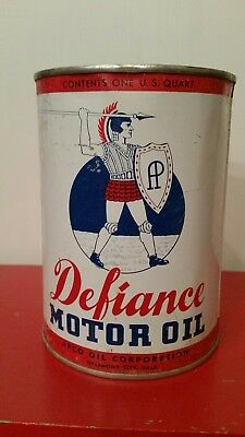 Vintage Defiance Motor Oil 1 Quart Can APCO Oil Corp Oklahoma City