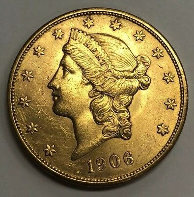 1906 S $20 Liberty Head Double Eagle Gold Coin AU/BU Nice PQ Rare Date Luster