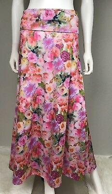 LulaRoe Women's Maxi Skirt Size XS Pink Floral Rose Print Cruise Summer Stretch