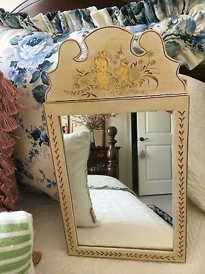 """MIRROR Chinese Chinoiserie Chippendale Wood Hand Painted Decorative Accent 19"""""""