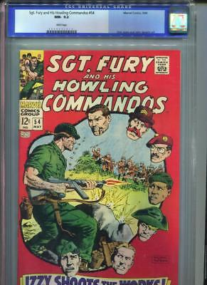 Sgt. Fury #54 CGC 9.2 White Pages Howling Commandos WAR Marvel Comics Ayers