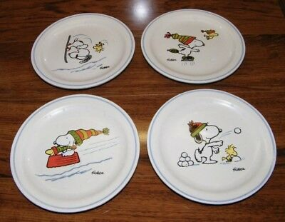 Hallmark Peanuts by Schulz - Snoopy & Woodstock Playing in Snow Plates 4 plates