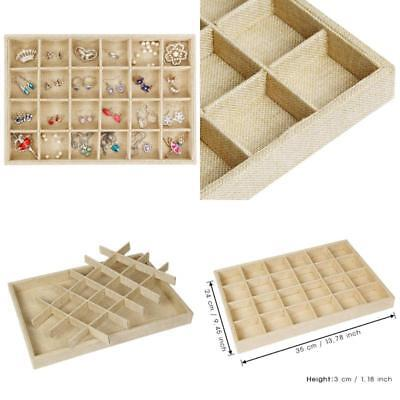 Valdler Sackcloth Stackable Grid Jewelry Tray Showcase Display Organizer Durable