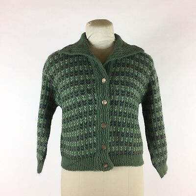 Vintage 1960s Green Striped Cardigan Sweater Cropped Textured Swing Rockabilly