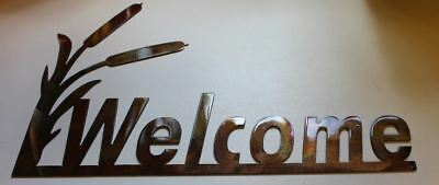 Cattail Welcome Sign Metal Wall Decor