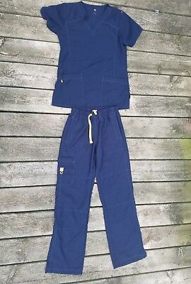 Wonderwink Four Stretch Navy Blue Scrub Set Size Small Top And Size Xs Pants