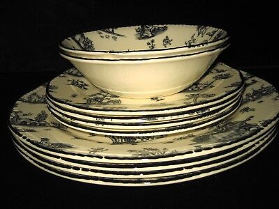Wood N Sons (4) Dinner / (4) Salad Plates (2) Bowls / Toile Made In England