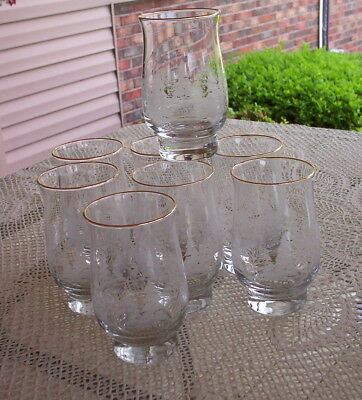 8 Arb'ys White Etched Winter Scene Holiday Glasses-Gold Rimmed Tumblers-Coolers