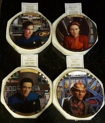 "STAR TREK/DEEP SPACE NINE plates lot of 4 ""Hamilton Collection"" 1994"