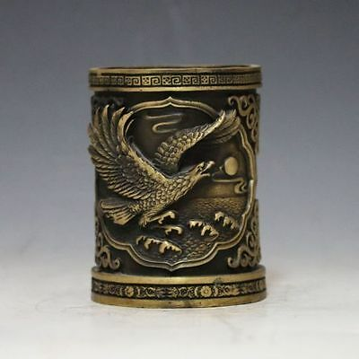 Chinese Brass Hand-carved Eagle Brush Pot   e01