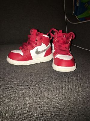 Nike Air Jordan Retro 1 High 705304-602 Gym Red Metallic Silver White Size 5c