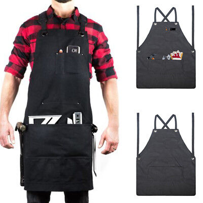 2018 Waxed Canvas Work Apron Tool Adjustable Woodworker Carpenter Mechanics k