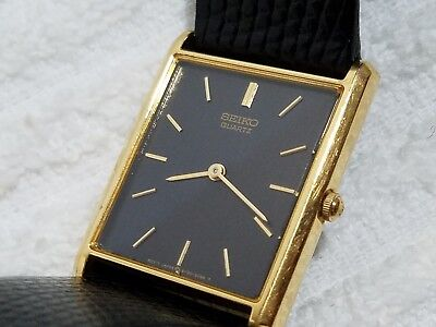 Vintage Seiko Gold Tone One Jewel Quartz Watch Black Leather Strap