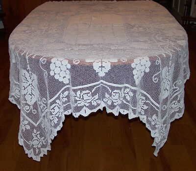 "Fabulous Vintage, Antique Filet Lace Tablecloth, Classic Grape Design, 72"", 1930"