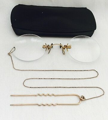 ANTIQUE GOLD Filled PINCE NEZ. TINTED Spectacles + Hairpin Chain & Case