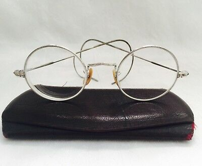 Antique Silver Tone / White Metal Round Lens Looking Eyeglasses with Case