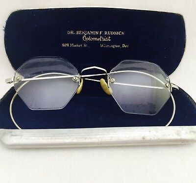 Antique Silver Tone ART DECO Looking Rimless Eyeglasses Spectacles with Case