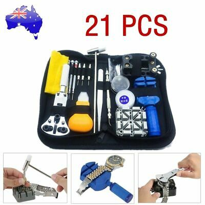 21 pcs Watch Back Case Opener Hand Watchmakers Remover Repair Tool Kit w/case AU