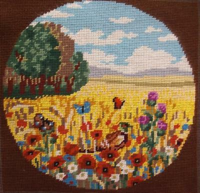 """complete finished New wool Needlepoint a bird in a flowers field 11.7""""x11.7"""""""