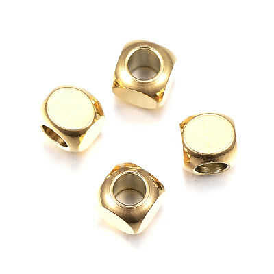 10pcs Gold Tone 304 Stainless Steel Metal Beads Smooth Cube Loose Spacers 5x5mm
