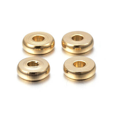 10pcs Gold Tone 304 Stainless Steel Metal Beads Donut Smooth Loose Spacers 6x1mm